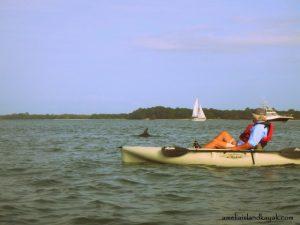 Man kayaking off the coast of Fernandina Beach