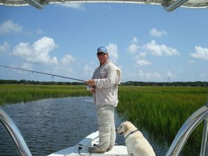 Man on boat inshore fishing at Fernandina Beach